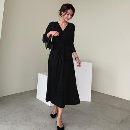 [2019冬季新款] 時尚腰間抓皺洋裝