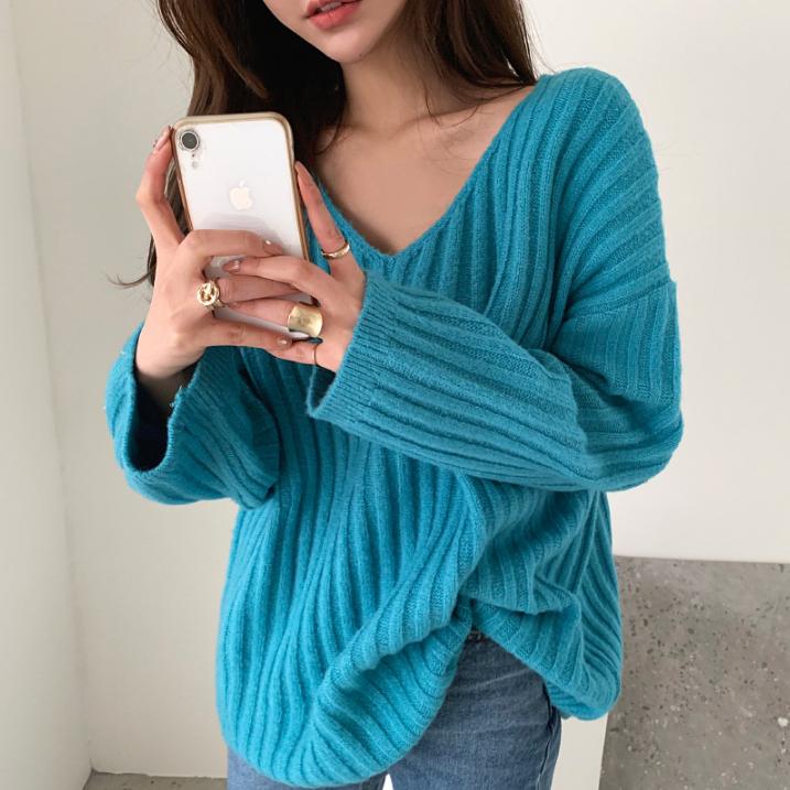 [2019冬季新款] V領坑條針織上衣