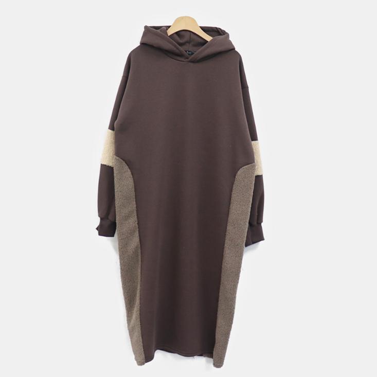 [2019冬季新款] 毛絨拼接連帽洋裝