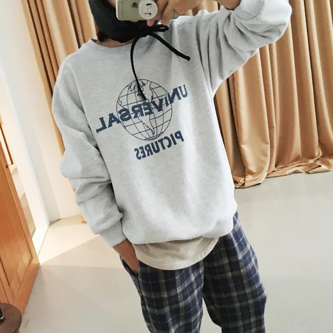 [2019冬季新款] 地球儀印花大學T